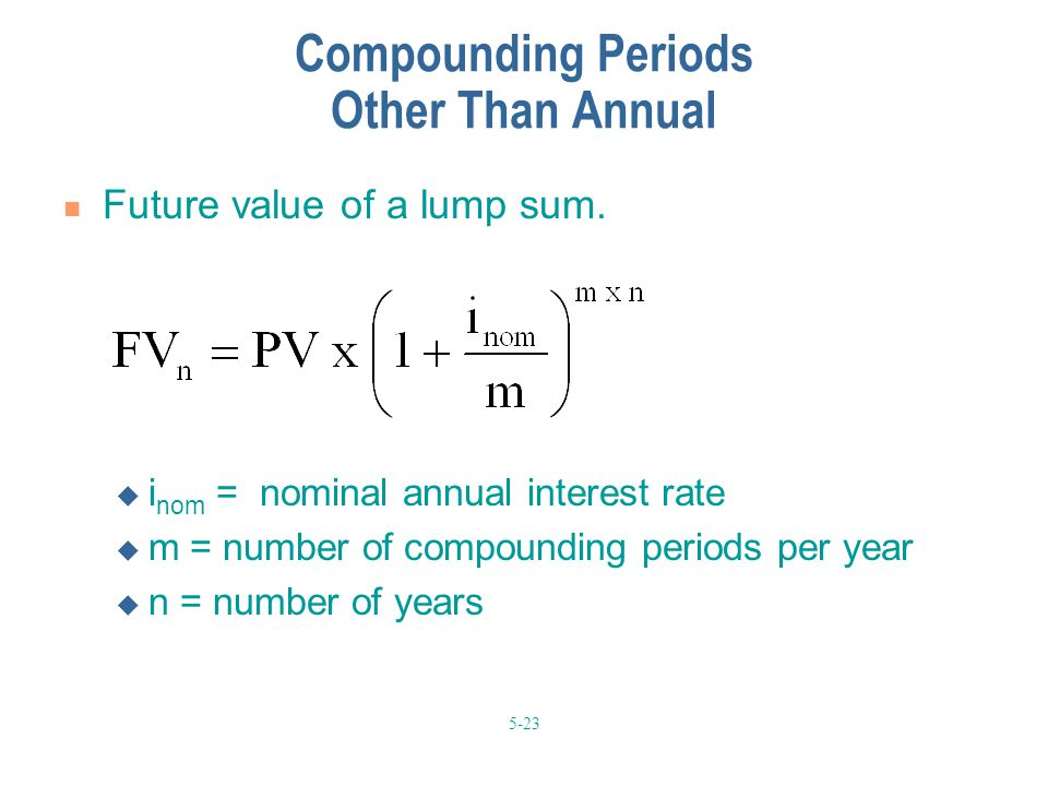 5-23 Compounding Periods Other Than Annual Future value of a lump sum.