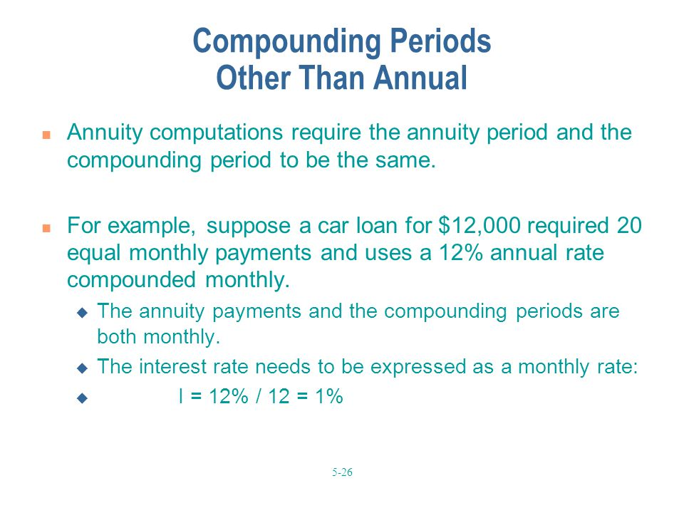 5-26 Compounding Periods Other Than Annual Annuity computations require the annuity period and the compounding period to be the same. For example, sup