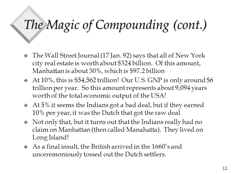 12 The Magic of Compounding (cont.) v The Wall Street Journal (17 Jan. 92) says that all of New York city real estate is worth about $324 billion. Of