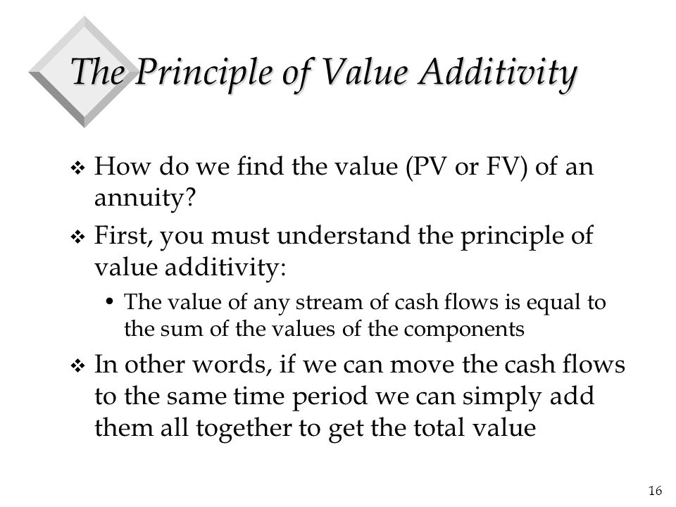 16 The Principle of Value Additivity v How do we find the value (PV or FV) of an annuity? v First, you must understand the principle of value additivi