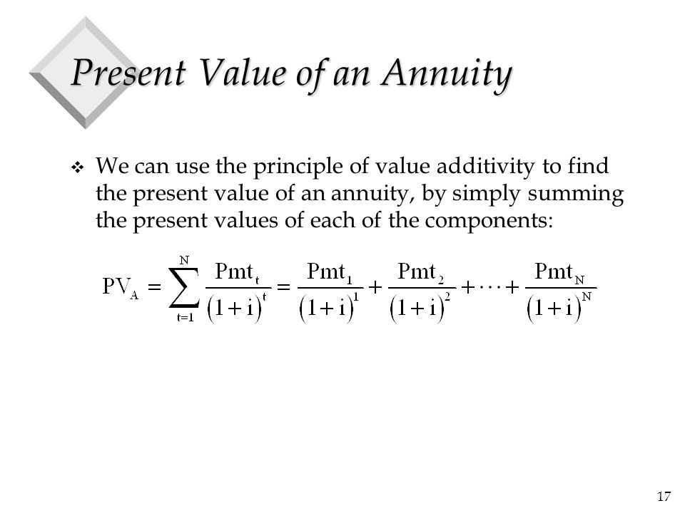 17 Present Value of an Annuity v We can use the principle of value additivity to find the present value of an annuity, by simply summing the present v