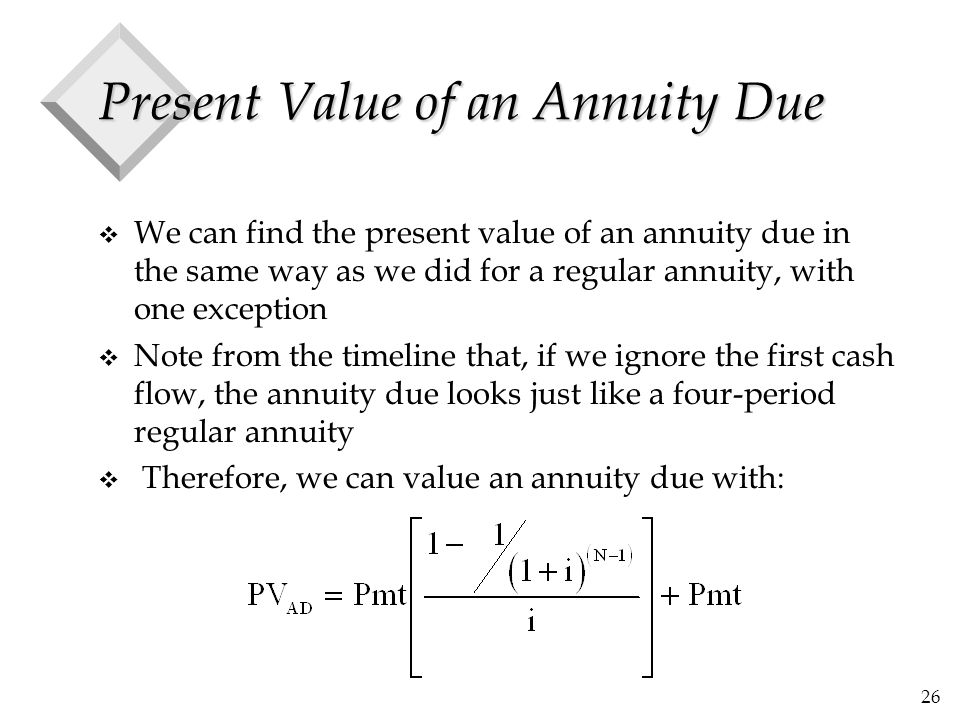 26 Present Value of an Annuity Due v We can find the present value of an annuity due in the same way as we did for a regular annuity, with one excepti