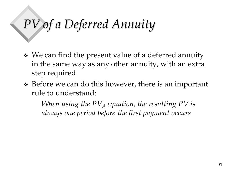 31 PV of a Deferred Annuity v We can find the present value of a deferred annuity in the same way as any other annuity, with an extra step required v
