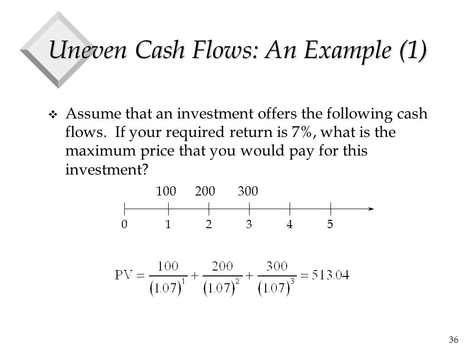 36 Uneven Cash Flows: An Example (1) v Assume that an investment offers the following cash flows. If your required return is 7%, what is the maximum p
