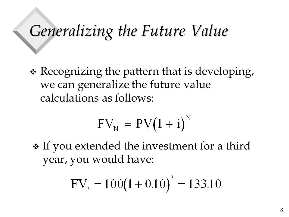 8 Generalizing the Future Value v Recognizing the pattern that is developing, we can generalize the future value calculations as follows: v If you ext