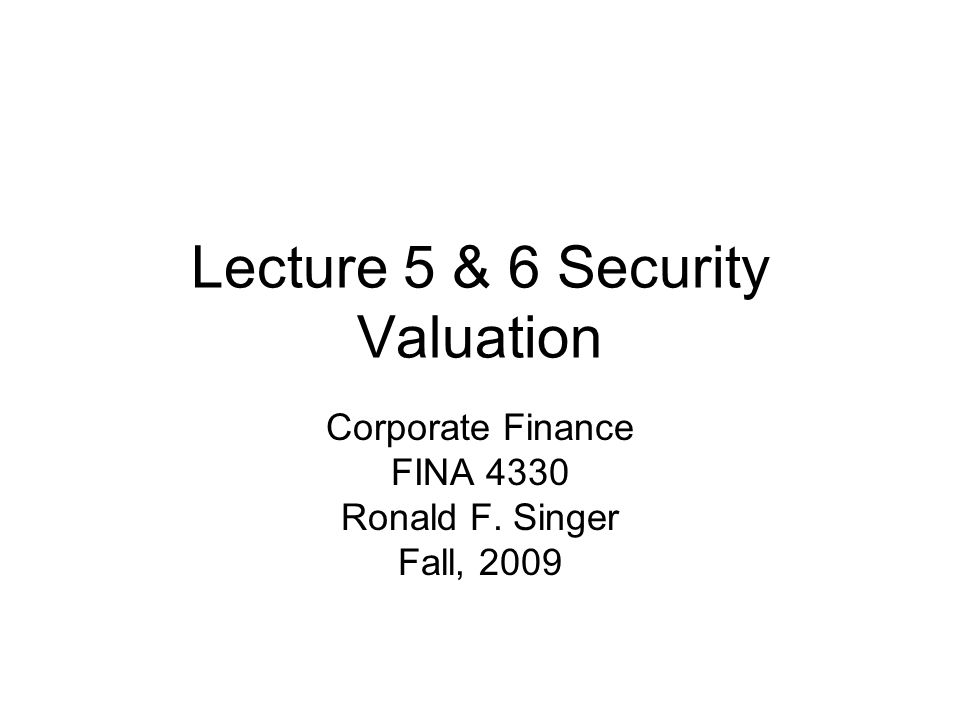 Present Value of Bonds & Stocks At this point, we apply the concept of present value developed earlier to price bonds and stocks.