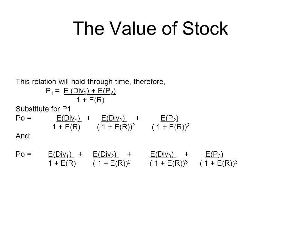 The Value of Stock This relation will hold through time, therefore, P 1 = E (Div 2 ) + E(P 2 ) 1 + E(R) Substitute for P1 Po = E(Div 1 ) + E(Div 2 ) +