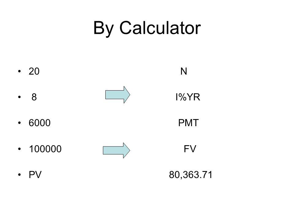 By Calculator 20 N 8 I%YR 6000 PMT 100000 FV PV 80,363.71