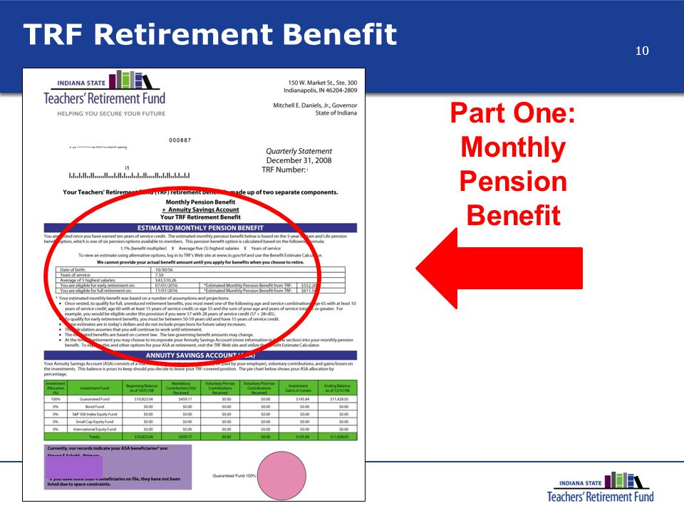 TRF Retirement Benefit Part One: Monthly Pension Benefit 10