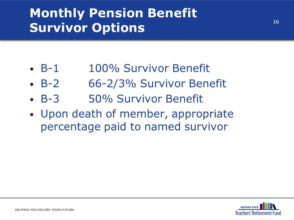 B-1100% Survivor Benefit B-266-2/3% Survivor Benefit B-350% Survivor Benefit Upon death of member, appropriate percentage paid to named survivor Month