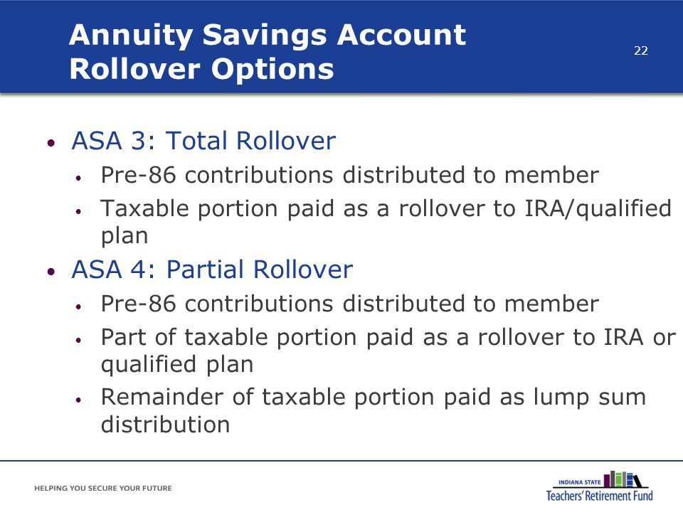 Annuity Savings Account Rollover Options ASA 3: Total Rollover Pre-86 contributions distributed to member Taxable portion paid as a rollover to IRA/qu