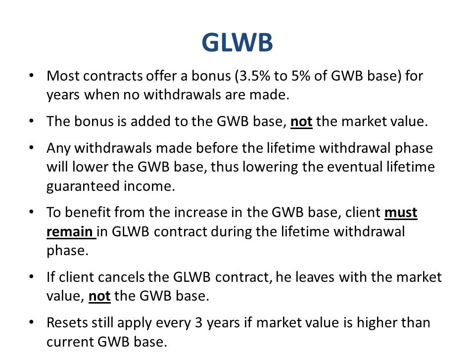 GLWB Most contracts offer a bonus (3.5% to 5% of GWB base) for years when no withdrawals are made.