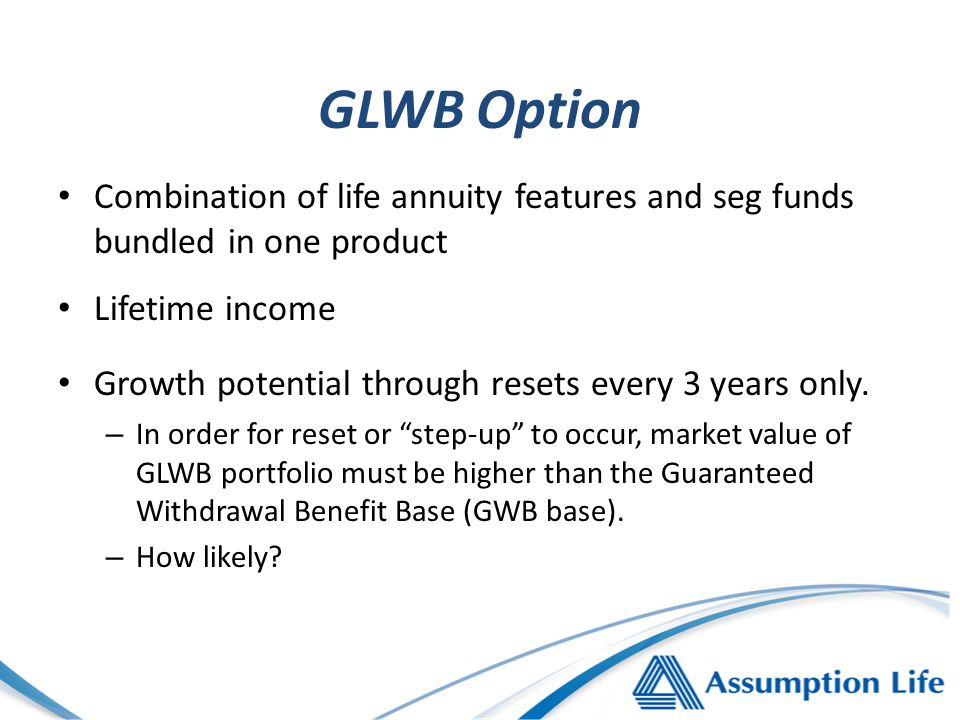 GLWB Option Combination of life annuity features and seg funds bundled in one product Lifetime income Growth potential through resets every 3 years only.