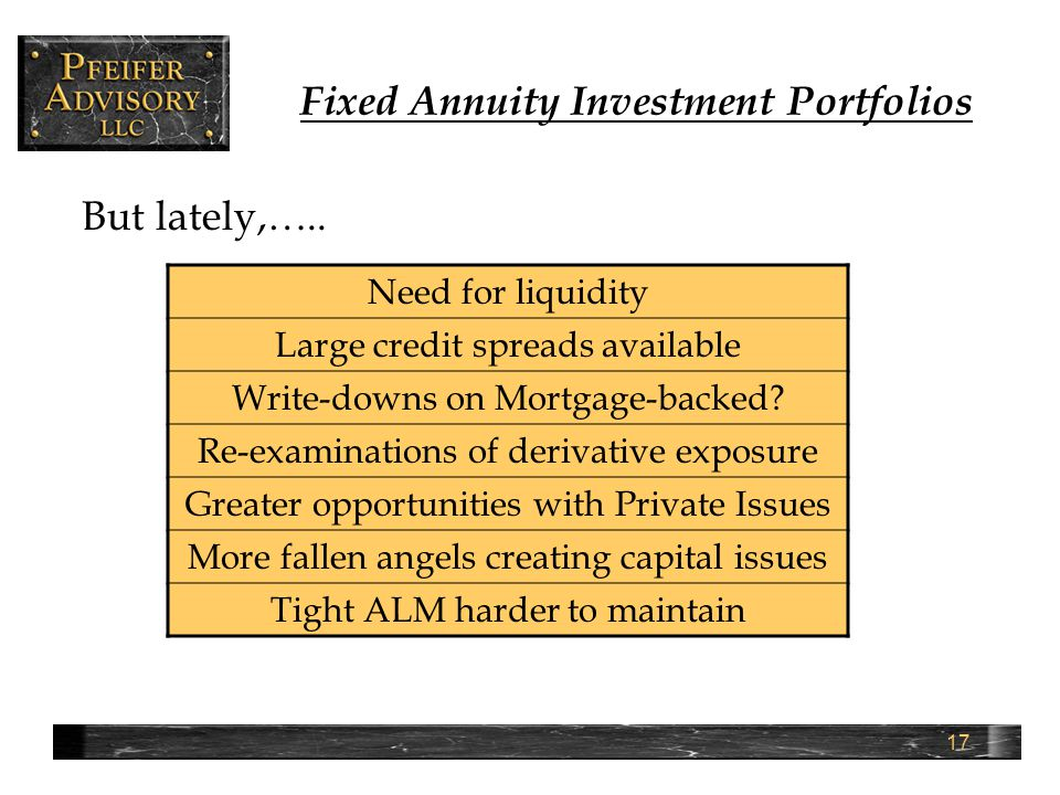17 Fixed Annuity Investment Portfolios But lately,…..