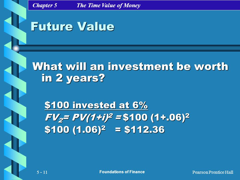 Chapter 5 The Time Value of Money Pearson Prentice Hall Foundations of Finance 5 - 11 Future Value What will an investment be worth in 2 years? $100 i