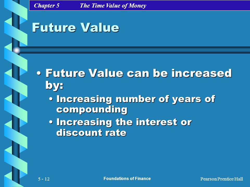 Chapter 5 The Time Value of Money Pearson Prentice Hall Foundations of Finance 5 - 12 Future Value Future Value can be increased by:Future Value can b