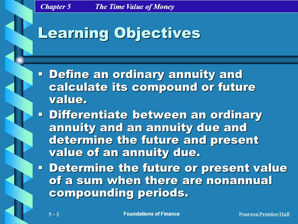 Chapter 5 The Time Value of Money Pearson Prentice Hall Foundations of Finance 5 - 3 Learning Objectives  Define an ordinary annuity and calculate it