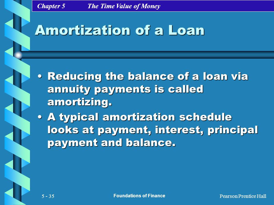 Chapter 5 The Time Value of Money Pearson Prentice Hall Foundations of Finance 5 - 35 Amortization of a Loan Reducing the balance of a loan via annuit