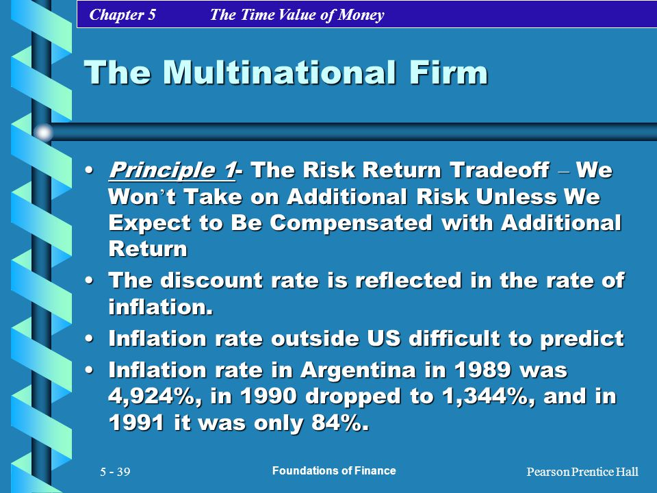 Chapter 5 The Time Value of Money Pearson Prentice Hall Foundations of Finance 5 - 39 The Multinational Firm Principle 1- The Risk Return Tradeoff – W