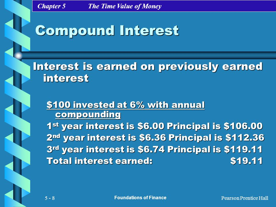 Chapter 5 The Time Value of Money Pearson Prentice Hall Foundations of Finance 5 - 8 Compound Interest Interest is earned on previously earned interes