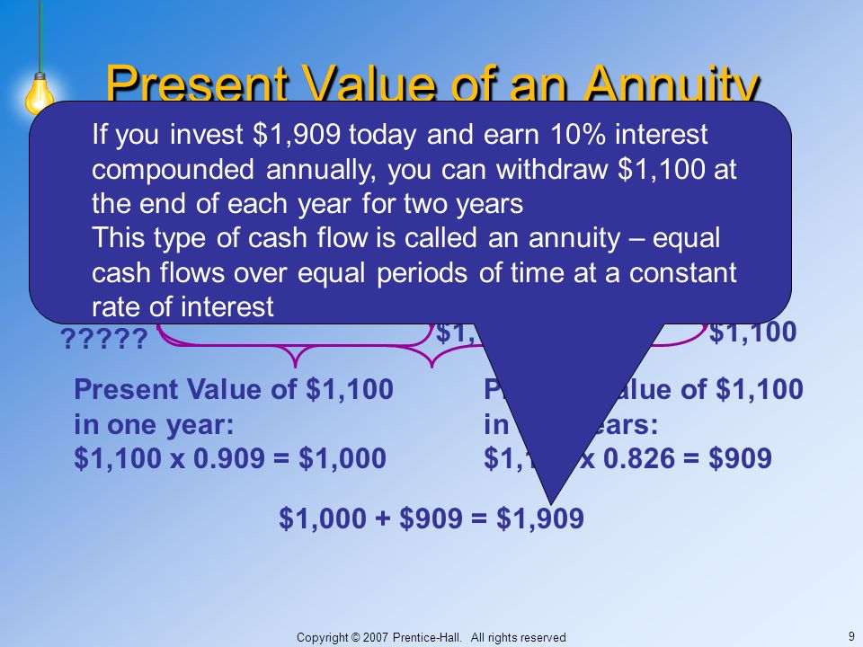 Copyright © 2007 Prentice-Hall. All rights reserved 9 Present Value of an Annuity 1 yr ????.