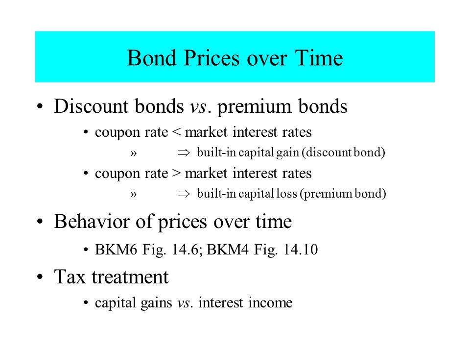 Bond Prices over Time Discount bonds vs. premium bonds coupon rate < market interest rates »  built-in capital gain (discount bond) coupon rate > ma