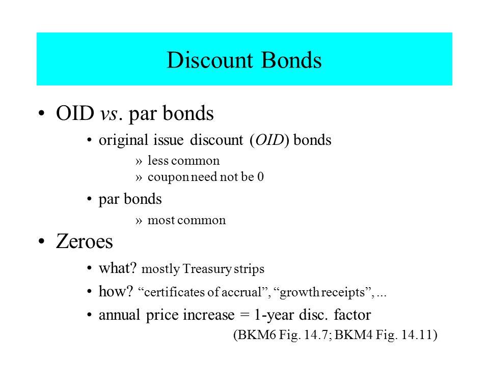 Discount Bonds OID vs. par bonds original issue discount (OID) bonds »less common »coupon need not be 0 par bonds »most common Zeroes what? mostly Tre