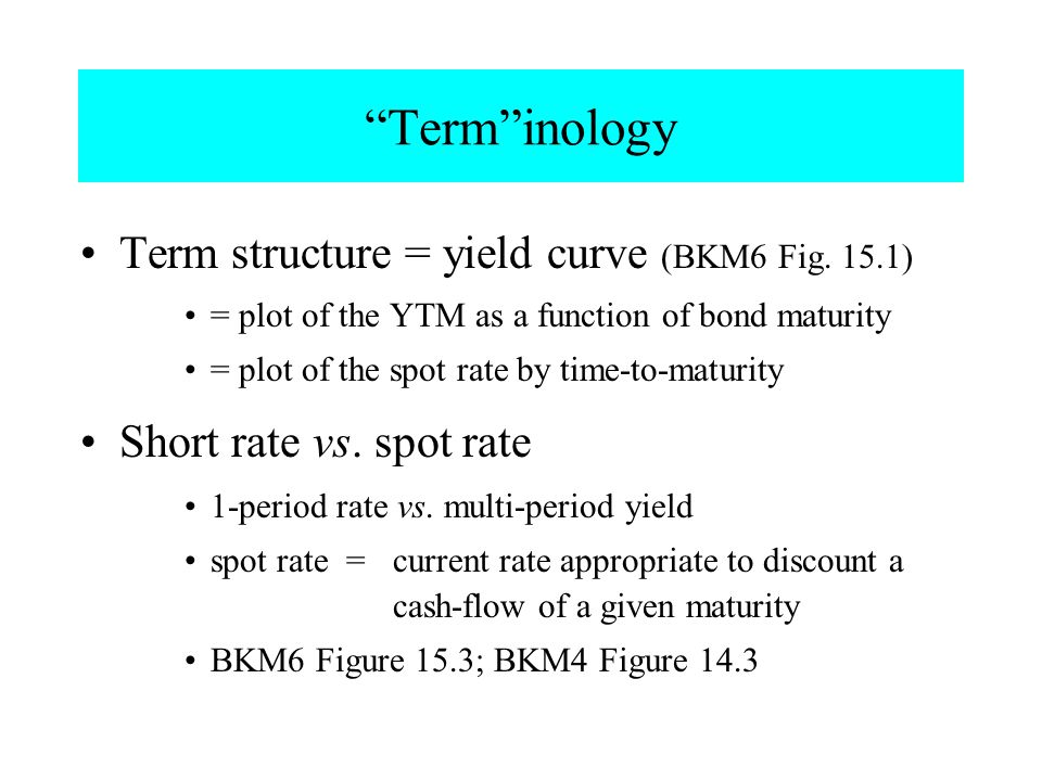 """""""Term""""inology Term structure = yield curve (BKM6 Fig. 15.1) = plot of the YTM as a function of bond maturity = plot of the spot rate by time-to-maturi"""