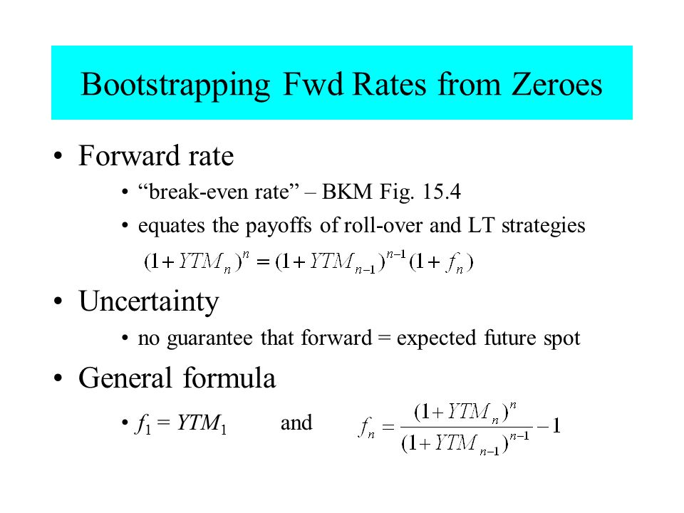 """Bootstrapping Fwd Rates from Zeroes Forward rate """"break-even rate"""" – BKM Fig. 15.4 equates the payoffs of roll-over and LT strategies Uncertainty no g"""