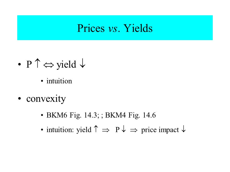 Prices vs. Yields P  yield  intuition convexity BKM6 Fig. 14.3; ; BKM4 Fig. 14.6 intuition: yield  P   price impact 