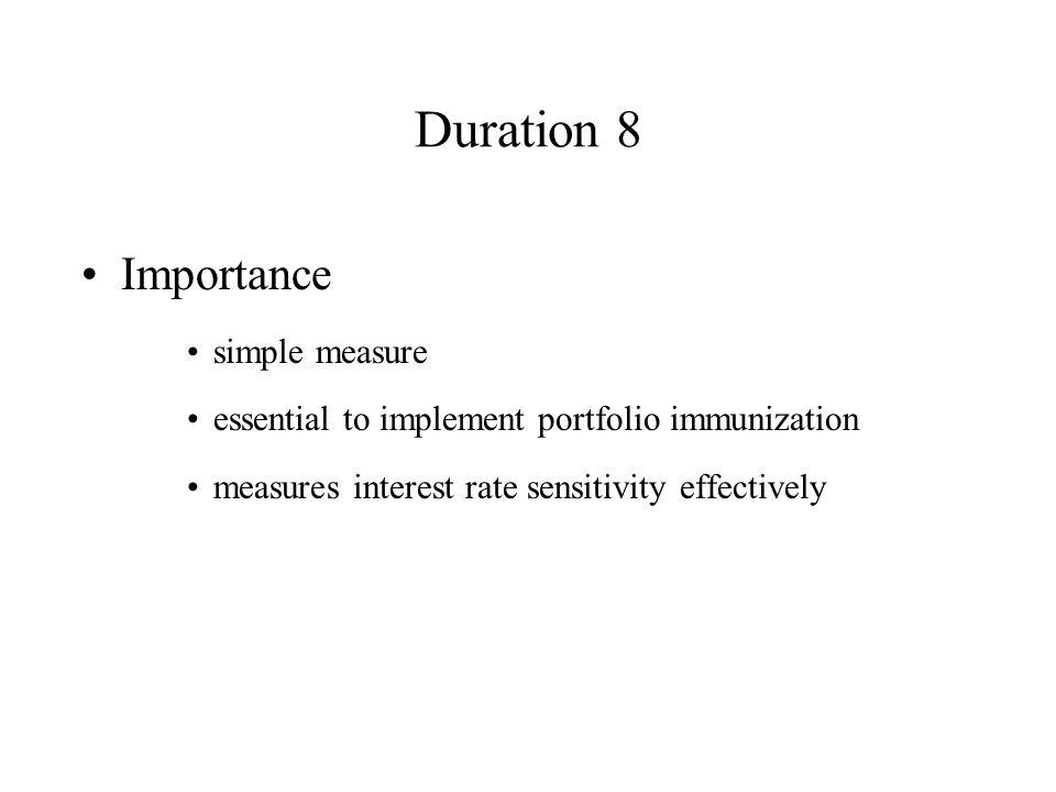 Duration 8 Importance simple measure essential to implement portfolio immunization measures interest rate sensitivity effectively