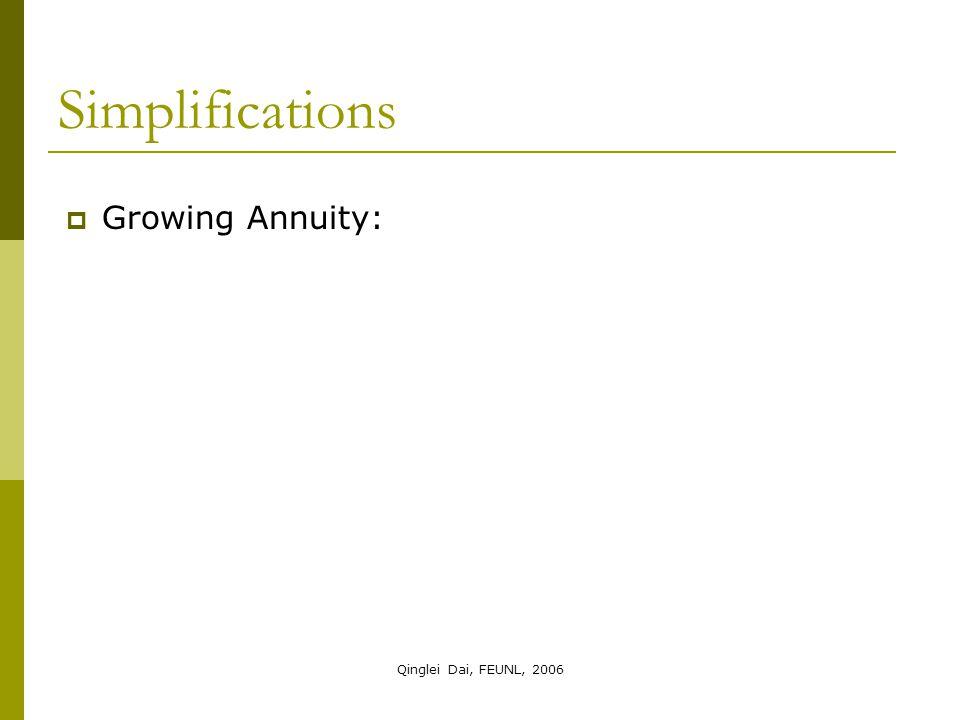 Qinglei Dai, FEUNL, 2006  Growing Annuity: Simplifications