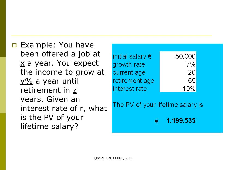 Qinglei Dai, FEUNL, 2006  Example: You have been offered a job at x a year. You expect the income to grow at y% a year until retirement in z years. G