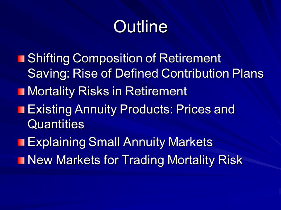 Outline Shifting Composition of Retirement Saving: Rise of Defined Contribution Plans Mortality Risks in Retirement Existing Annuity Products: Prices and Quantities Explaining Small Annuity Markets New Markets for Trading Mortality Risk