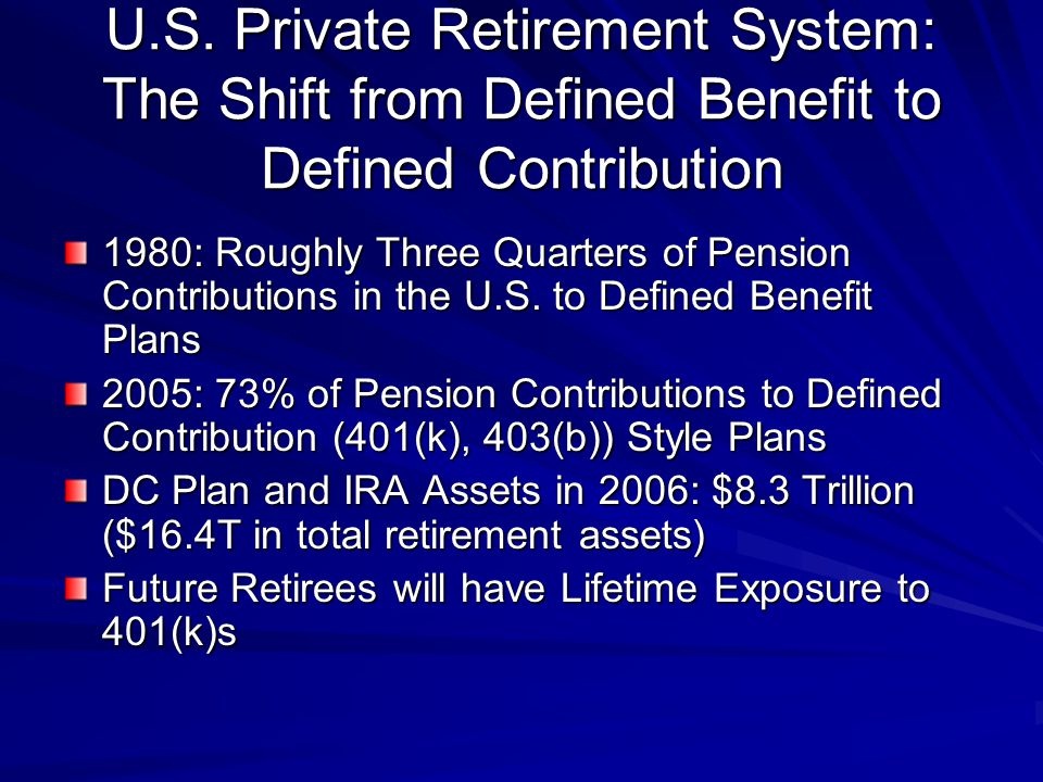 Ratio of Projected Defined Contribution Plan Assets to Defined Benefit Plan Liabilities