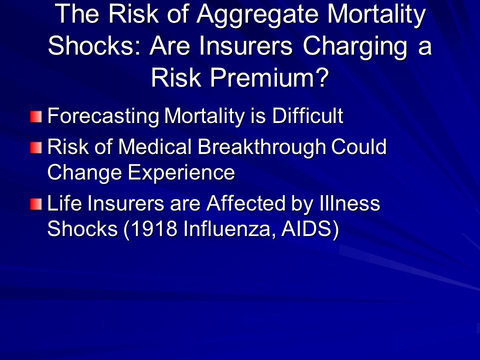 The Risk of Aggregate Mortality Shocks: Are Insurers Charging a Risk Premium.