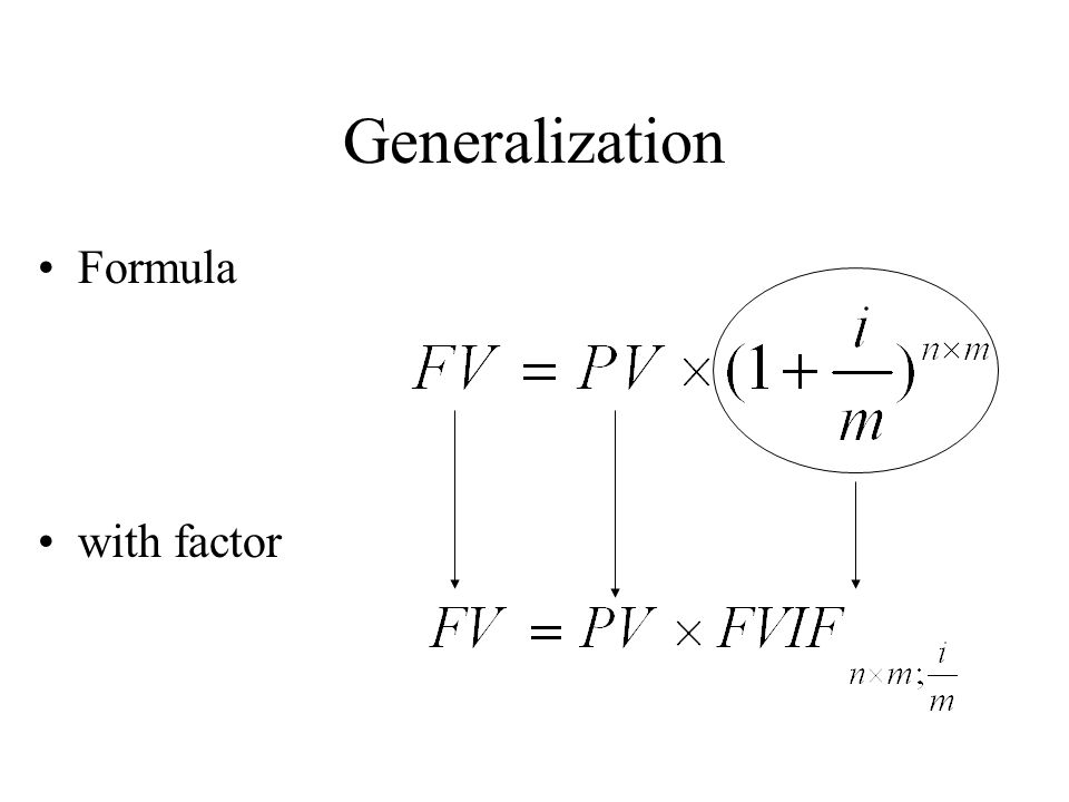 Generalization Formula with factor