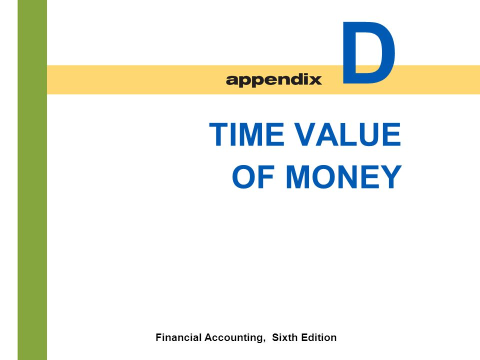 D- 1 TIME VALUE OF MONEY Financial Accounting, Sixth Edition D