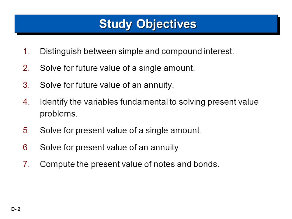 D- 2 1. 1.Distinguish between simple and compound interest. 2. 2.Solve for future value of a single amount. 3. 3.Solve for future value of an annuity.