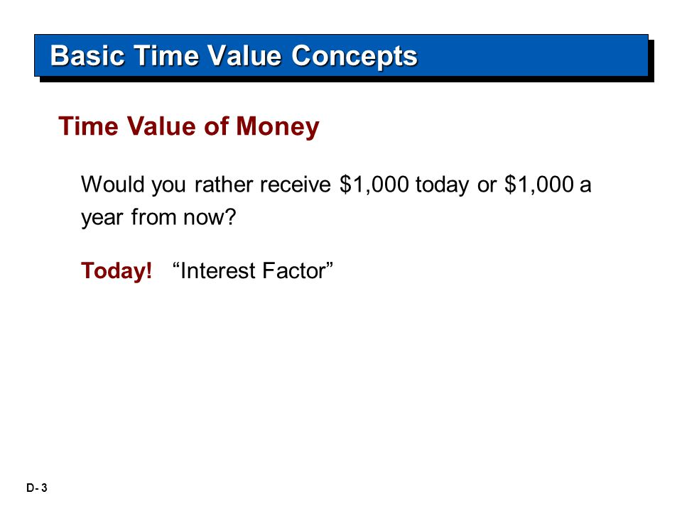 """D- 3 Would you rather receive $1,000 today or $1,000 a year from now? Basic Time Value Concepts Time Value of Money Today! """"Interest Factor"""""""