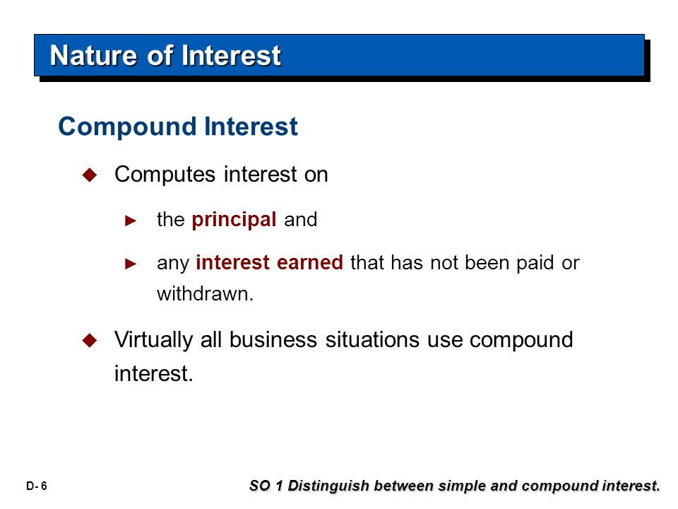 D- 6  Computes interest on ► the principal and ► any interest earned that has not been paid or withdrawn.