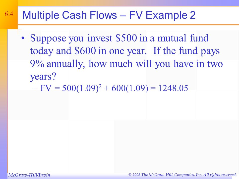 McGraw-Hill/Irwin © 2003 The McGraw-Hill Companies, Inc. All rights reserved. 6.4 Multiple Cash Flows – FV Example 2 Suppose you invest $500 in a mutu