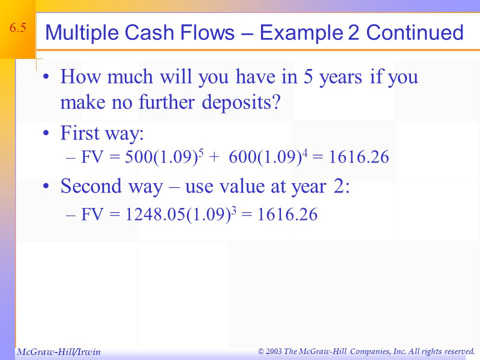 McGraw-Hill/Irwin © 2003 The McGraw-Hill Companies, Inc. All rights reserved. 6.5 Multiple Cash Flows – Example 2 Continued How much will you have in