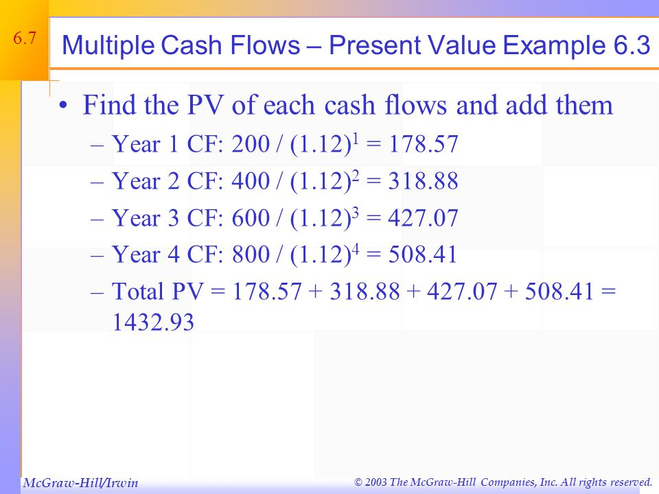 McGraw-Hill/Irwin © 2003 The McGraw-Hill Companies, Inc. All rights reserved. 6.7 Multiple Cash Flows – Present Value Example 6.3 Find the PV of each