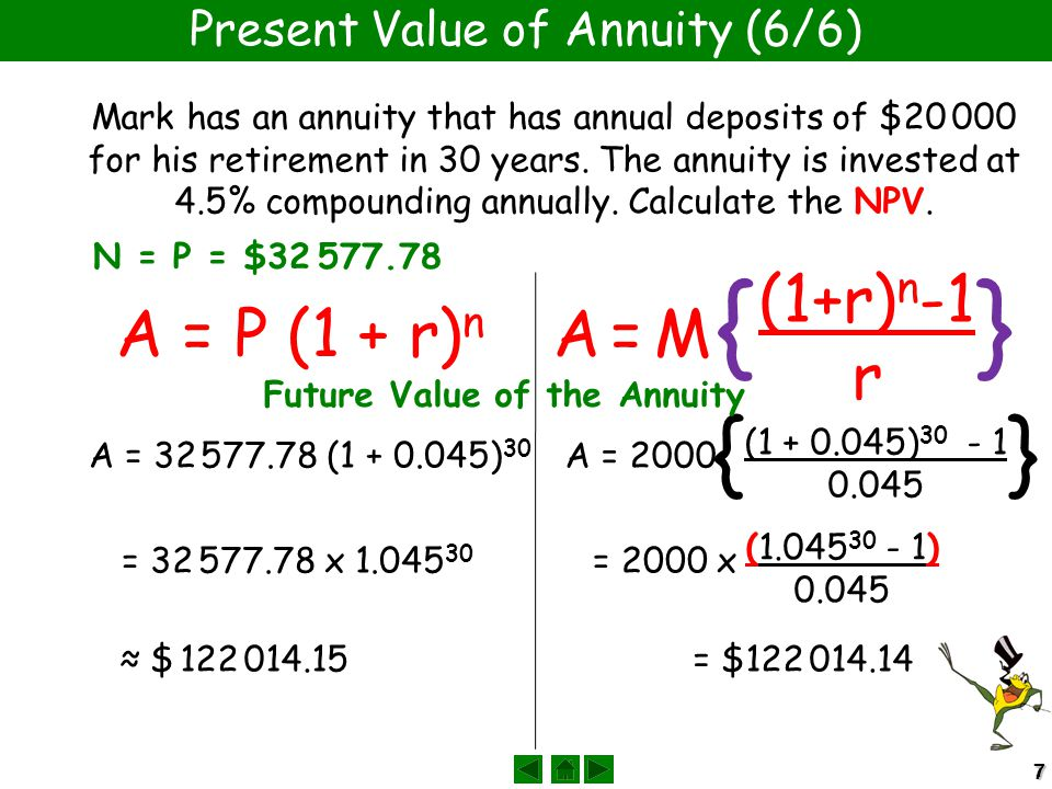 77 Present Value of Annuity (6/6) Mark has an annuity that has annual deposits of $20 000 for his retirement in 30 years. The annuity is invested at 4
