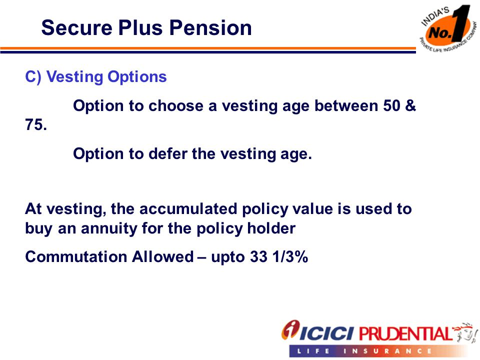 Secure Plus Pension C) Vesting Options Option to choose a vesting age between 50 & 75.