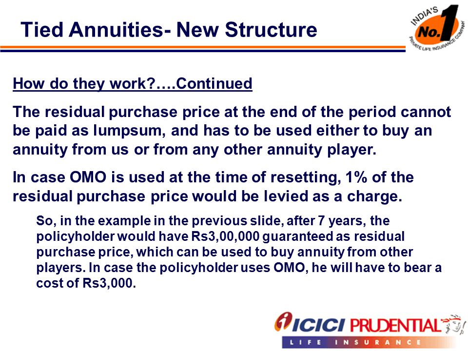 Tied Annuities- New Structure How do they work ….Continued The residual purchase price at the end of the period cannot be paid as lumpsum, and has to be used either to buy an annuity from us or from any other annuity player.