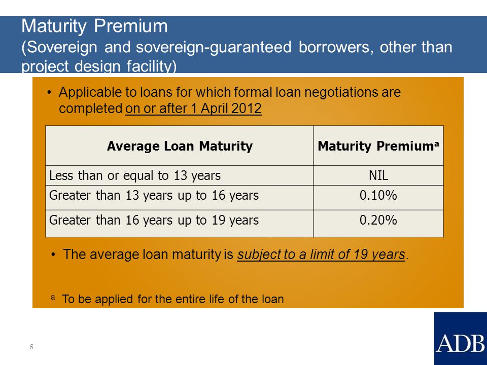 Maturity Premium (Sovereign and sovereign-guaranteed borrowers, other than project design facility) 6 Average Loan MaturityMaturity Premium a Less than or equal to 13 yearsNIL Greater than 13 years up to 16 years0.10% Greater than 16 years up to 19 years0.20% Applicable to loans for which formal loan negotiations are completed on or after 1 April 2012 The average loan maturity is subject to a limit of 19 years.