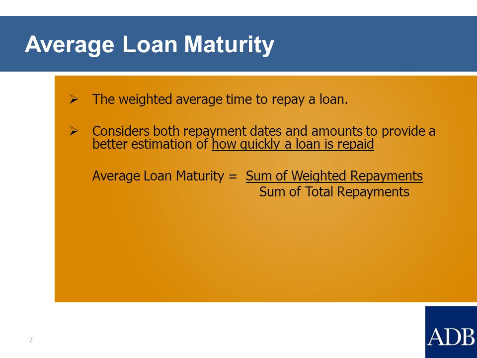 Average Loan Maturity  The weighted average time to repay a loan.