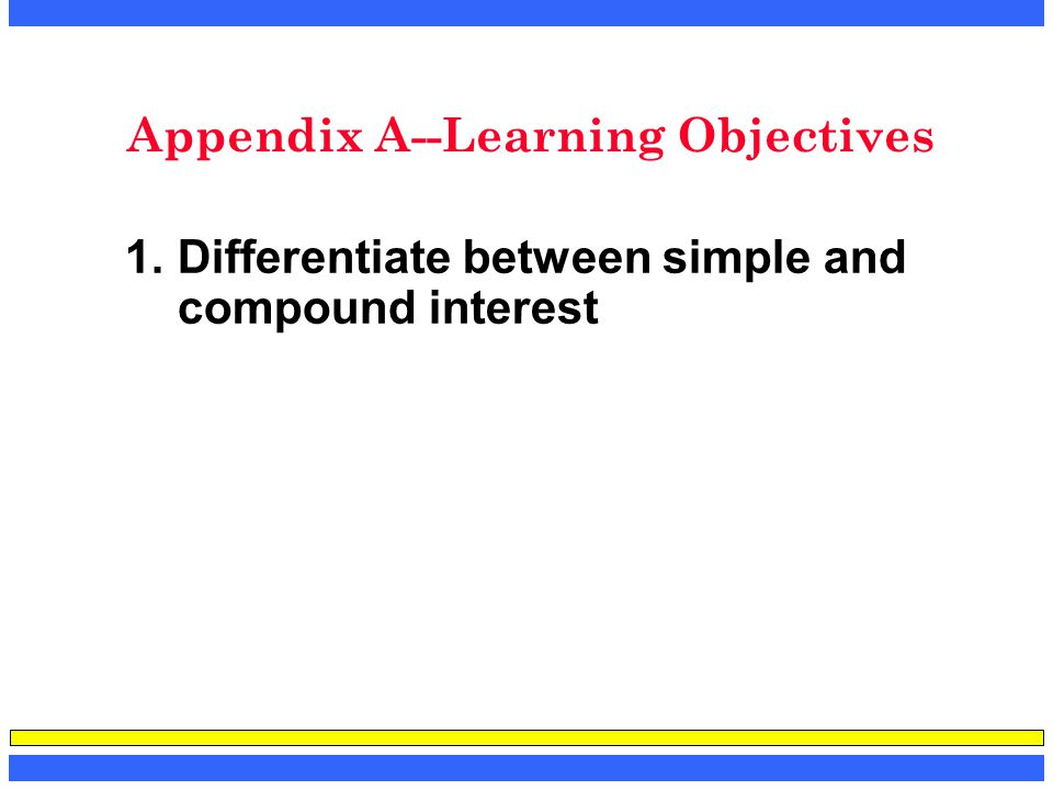 Appendix A--Learning Objectives 1.Differentiate between simple and compound interest